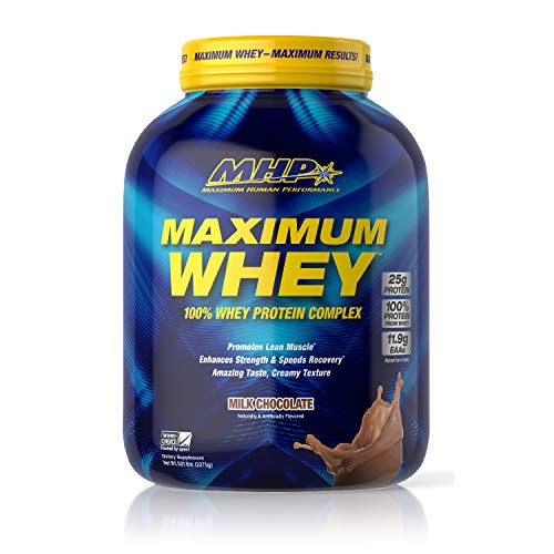 MHP Maximum Whey Protein, 25g Fast Acting Delicious Tasting Protein, Enhaces Strength & Speeds Recovery, Milk Chocolate, 50 Servings