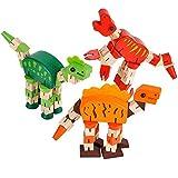 Dinosaur Brain Teaser Puzzle by Neliblu - Wood Fidget Cube Dino Toy - 1 Piece Assorted Colors