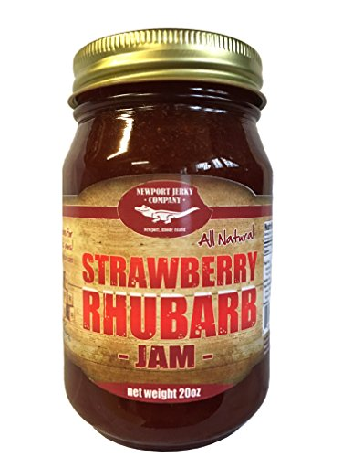 Strawberry Rhubarb - Gourmet Strawberry Rhubarb Jam 20oz Handcrafted Small Batch (All Natural)