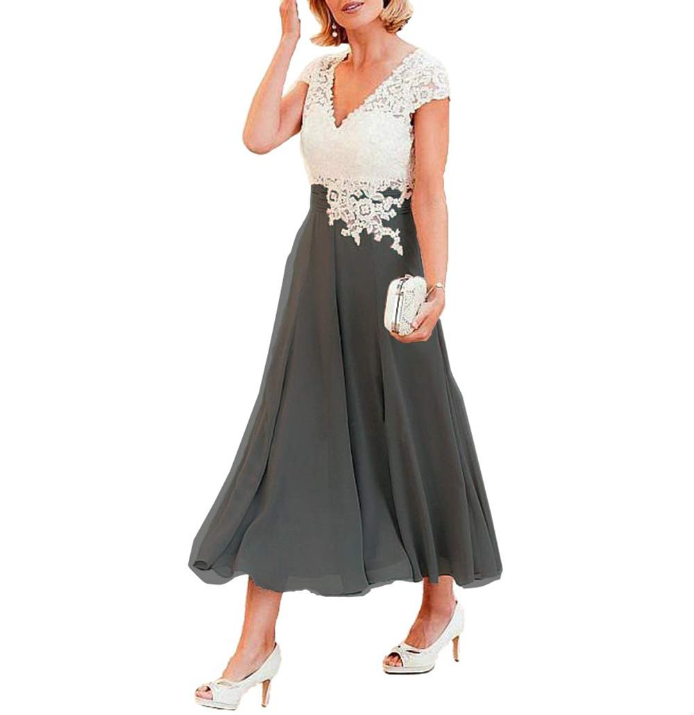 74c11c7109f WHZZ Women s Tea Length Mother of The Bride Dress Evening Formal Dress  WHZZ288 Dark Grey