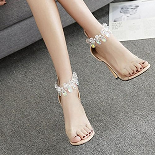 HUHU833 Fashion Women Leopard Open Toed High Heels Transparent Heel Sandals Slippers Beige GeQJTTp