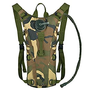 Vbiger Hydration Pack with 3L Bladder Water Bag Great for Hunting Climbing Running and Hiking (Camouflage, One Size)