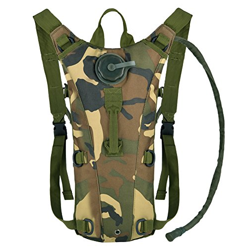 - Vbiger Hydration Pack with 3L Bladder Water Bag Great for Hunting Climbing Running and Hiking (Camouflage, One Size)