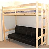 Futon Bunk Bed - 3ft single wooden high sleeper bunkbed - CAN BE USED BY ADULTS - Includes leather sofa bed that folds down to make bed