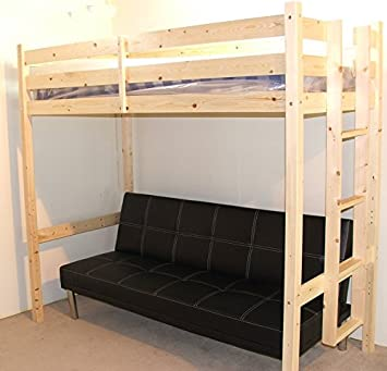 Futon Bunk Bed 3ft Single Wooden High Sleeper Bunkbed Can Be