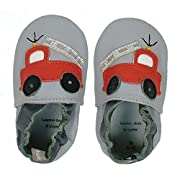 Tommy Tickle Soft Sole Leather Baby Shoes For Boys - Infant Boys Shoes, Toddler Boys Shoes (Small (0-6 mo), Grey Firetruck)