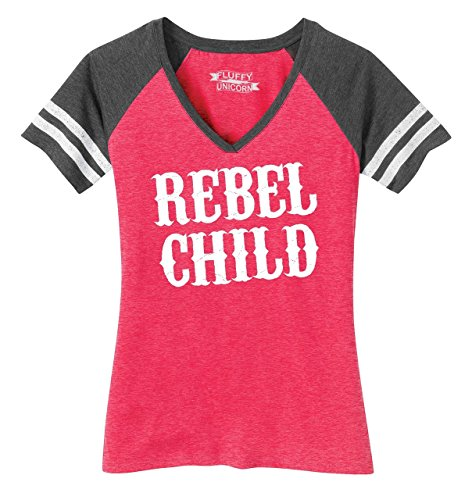 Comical Shirt Ladies Game V-Neck Tee Rebel Child Funny Country Reneck Shirt Heathered Watermelon/Heathered Charcoal S