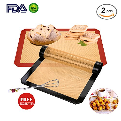 Silicone Baking Mats 2-Pack Include Free Eggbeater for Baking Sheets ,Half Sheet Size Silicone Baking Mats 16.5' x 11.5' , Sil Pads For Baking Non Stick Silicone Baking Mats (Black&Red)
