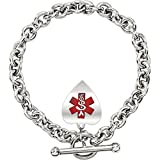 New 0.925 Silver Sterling Heart Medical ID Alert Rolo Chain Charm Bracelet, 8in Length
