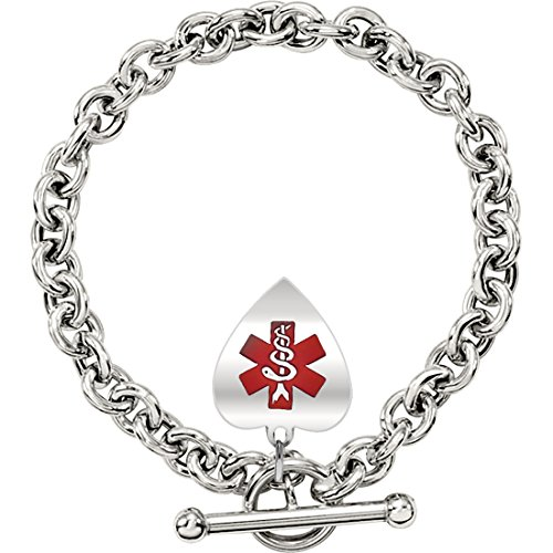 New 0.925 Silver Sterling Heart Medical ID Alert Rolo Chain Charm Bracelet, 8in Length by US Jewels And Gems