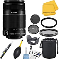 Canon EF-S 55-250mm f/4.0-5.6 IS II Telephoto Zoom 33rd Street Lens Bundle for Canon DSLR Cameras
