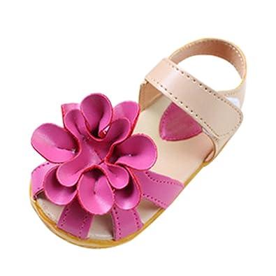 Chaussures d'ete Sandales floral en cuir decontracte Sandales de plage pour les enfants et les filles - Rouge US6.5=CN21 vEpBi