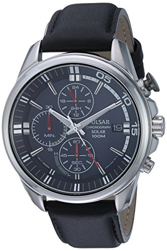 Pulsar Men's Quartz Stainless Steel and Leather Casual Wa...