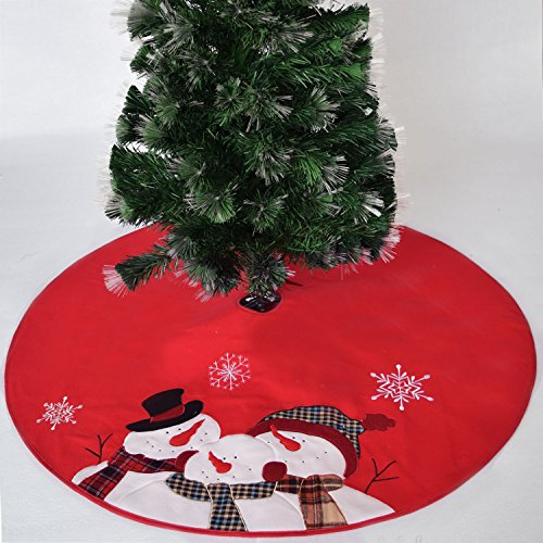 Gireshome Christmas Tree Skirt, 50 inches in diameter, Embroidered Christmas Time is Family Time Snowman Snowflake XMAS Tree Decoration Merry Christmas Supplies Christmas Decoration