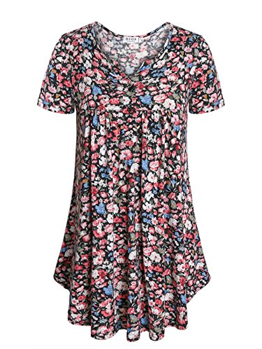Top Print Drape Neck - Floral Tunics for Women,DSUK Women Short Sleeve Round Neck Drape Front Daily Wearing Flower Print Tops Scallop Hem Soft Comfy Fabric Lightweight Fitted Shirts Leisure Blouse Black Medium