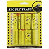 AMOS 8 x Hanging Fly Traps Insect Bug Wasp Sticky Paper Rolls Catcher Safe Poison Free Catchers Trap Set & Drawing Pins