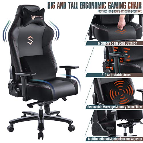 FANTASYLAB Big and Tall 400lb Massage Memory Foam Gaming Chair – Adjustable Tilt, Back Angle and 3D Arms High-Back Leather Racing Executive Computer Desk Office Chair, Metal Base, Black