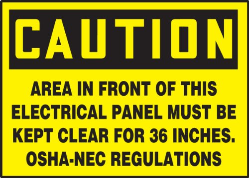 "Accuform LELC601VSP Safety Label, Legend ""CAUTION AREA IN FRONT OF THIS ELECTRICAL PANEL MUST BE KEPT CLEAR FOR 36 INCHES. OSHA-NEC REGULATIONS"", 3.5"" Length x 5"" Width x 0.004"" Thickness, Adhesive Vinyl, Black on Yellow (Pack of 5)"