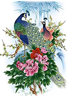MAHALAXMI ART Peacock Peony Classic Painting Poster Multicolour 13x19 Inches
