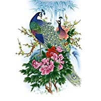 MAHALAXMI ART Peacock Peony Classic Painting Poster -(Multicolour, 13x19 Inches)