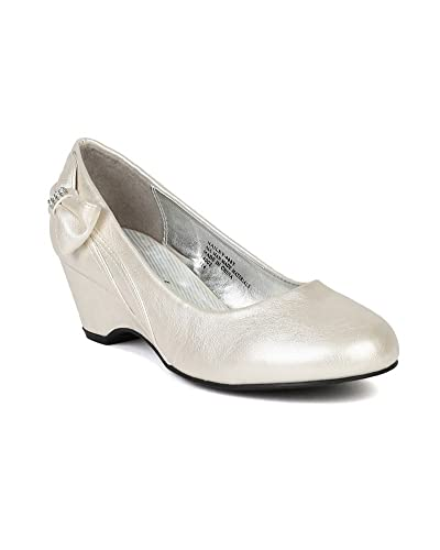 78311c3dc7b8 Leatherette Round Toe Bow Kiddie Heel Wedge Sandal (Toddler Little Girl Big  Girl