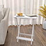 Lifewit Wood TV Tray, Solid Portable Foldable Snack Table Side Table,White