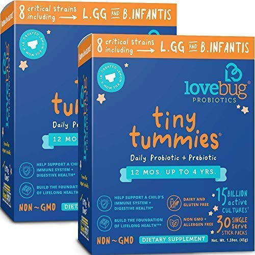 Lovebug Probiotic and Prebiotic for Kids, 15 Billion CFU, Special Formulate for Toddlers 12 Months to 4 Years, Best Children's Probiotics, Contains 1 Gram Fiber, 60