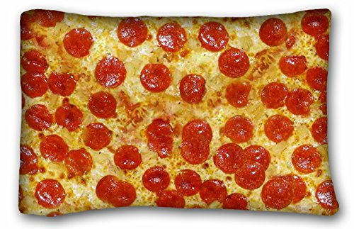 (Tarolo Pillowcase Design Pepperoni Cheese Pizza Pillow Protector Best Pillow Cover Size 20x30 Inches Two Sided Print )
