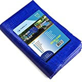 12x16Waterproof Multi-Purpose Poly Tarp - Blue Tarpaulin Protector For Cars, Boats, Construction Contractors, Campers, And Emergency Shelter. Rot, Rust And UV Resistant Protection Sheet