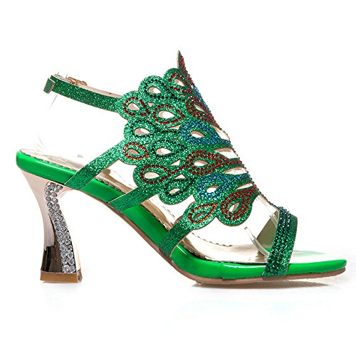 JOJONUNU Green Mules Femmes Sandales Ouvert Bout xwqSrYPw
