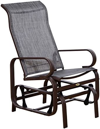 Outsunny Swinging Glider Lounging Chair w Smooth Rocking Arms Lightweight Construction for Patio Backyard, Grey