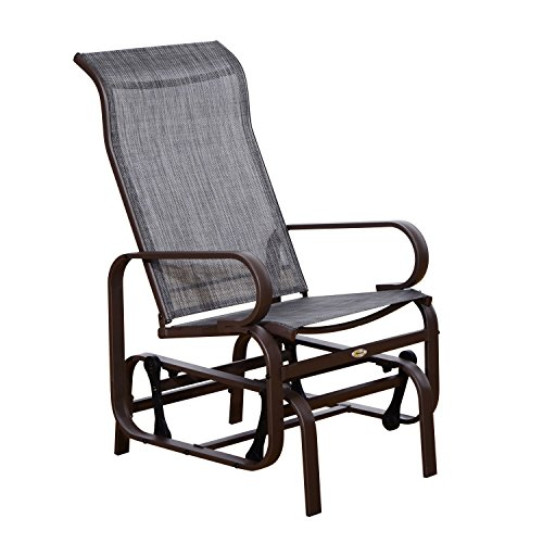 Outsunny Metal Mesh Fabric Single Outdoor Patio Glider Rocking Chair - Brown