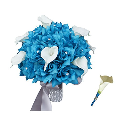 Wedding Bridal Bouquet & Boutonniere - Turquoise Rose and White Calla Lily