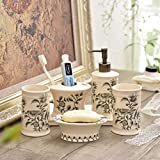 XiYunHan Bathroom Five-Piece Suit Ceramics European Style Bathroom Washing Set Bathroom Brushing Cup Couple Mouth Cup Simple