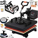 VEVOR Heat Press 15x15 Inch Heat Press Machine 5 in 1 Heat Transfer Press Multifunctional Sliding Rails Heat Press Machine for T Shirts Cap Press Cup Press Plate(Free T-Shirts and Stickers)