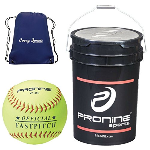 ProNine 11 Inch Fastpitch Softballs in Bucket (24 Balls) Bundled with Covey Sports Drawstring Ball Bag (24 Balls, 11 Inch Official League)