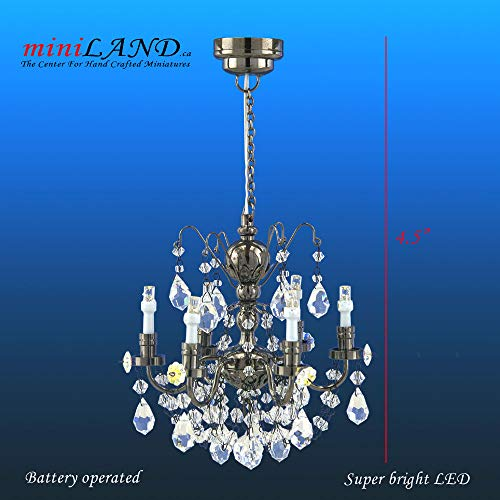 Led Miniature Crystal (miniLAND - The Center for Hand Crafted Miniatures Crystal Black Chandeliers, 6 arms, LED Super Bright On/Off Switch Dollhouse Miniature 1:12 Scale)