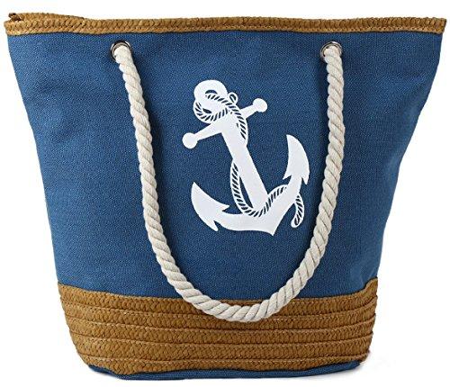 Pulama Womens Large Beach Tote Canvas Shoulder Bag Wave Striped Anchor Summer Handbag Top Handle Bag Straw Beach Bag Cool Denim (Denim Lined Tote)