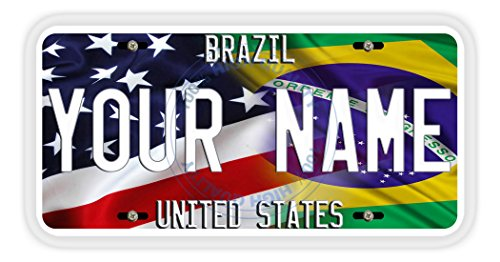 BleuReign(TM) Personalized Mixed USA and Brazil Flag Car Vehicle License Plate Auto Tag (Brazil Flag Car)