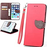 iPhone 5C Case - Canica 5C Red Case,iPhone 5C Leather Case Personalized Design Wallet Leather Flip ID Credit Card Holder Pouch Card Case Cover For iPhone 5C