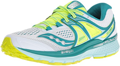 Saucony Women's Triumph Iso 3 Running Shoe, White/Teal/Citron, 8.5 M - White Shoes Saucony