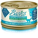 Blue Basics Limited Ingredient Diet Adult Indoor Grain Free Fish & Potato Wet Cat Food 3-Oz (Pack Of...