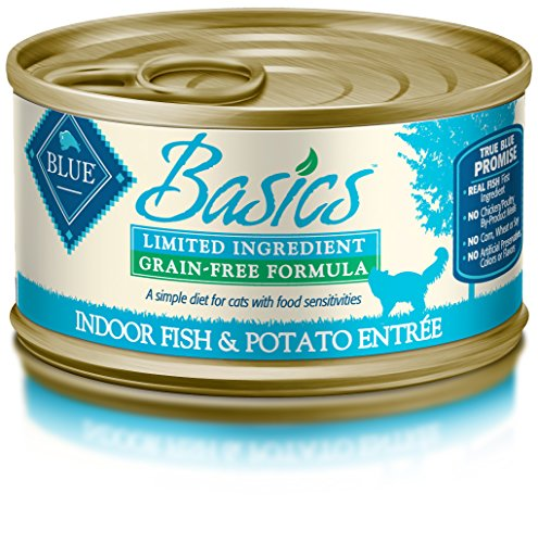 Blue Basics Limited Ingredient Diet Adult Indoor Grain Free Fish & Potato Wet Cat Food 3-Oz (Pack Of 24)