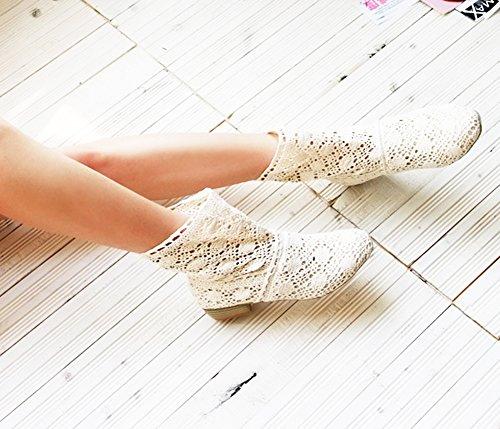 Minetom Damen Sommer Herbst Mid-calf Boots Durchbohrt Stiefel Süße Hohl Spitze Chunky Ferse Stiefeletten Sommerstiefel Weiß