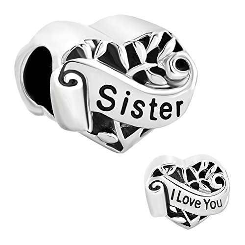 CharmSStory Silver Plated Grandma/Wife/Sister Heart I Love You Beads For Bracelets (Sister) (Pandora Sister Charm)