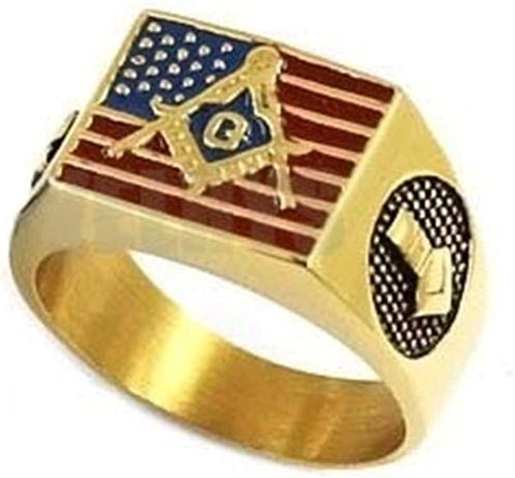 American Flag and Masonic on Yellow Stainless Steel Jewelry JEWURA Biker Ring