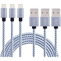 Akaho iPhone Cable, 10 Extra Long Nylon Braided Cord Lightning Cable Certified to USB Charging Charger for iPhone 7/7 Plus/6S/6 Plus/6S Plus/5S/5C/SE/iPad Air/Mini/iPod Nano 7 - Grey/White - 3 Piece