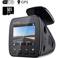WiFi Dash Cam with GPS - AKASO V1 1296P Full HD Dash Camera for Cars with 16GB Memory Card Included Phone App 170° Wide Angle Super Night Vision Loop Recording G-Sensor Parking Monitor