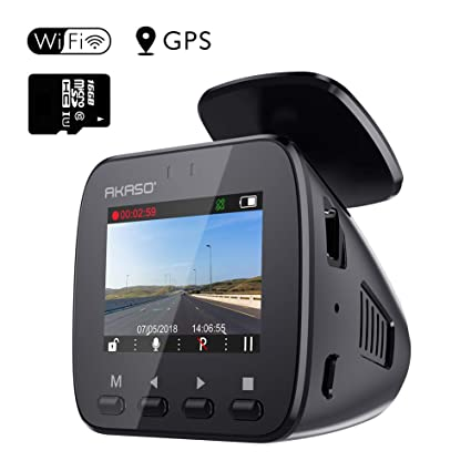 WiFi Dash Cam with GPS - AKASO V1 1296P Full HD Dash Camera for Cars with  16GB Memory Card Included Phone App 170° Wide Angle Super Night Vision Loop
