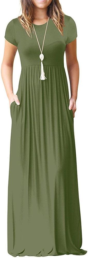 Maxi Dresses for Women Summer,Casual Dresses Short Sleeve Floral Printed Maxi Dress Elegant Party Maxi Long Dress